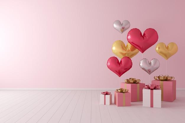 Minimales konzept. bunte ballonherzform mit geschenkbox auf rosa hintergrund. Premium Fotos