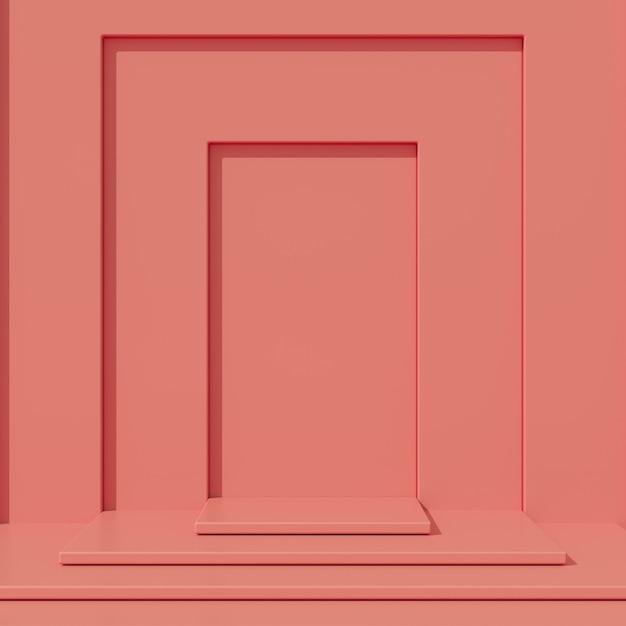 Minimales podium der roten farbe des konzeptes und rote farbplattform für produkt. 3d-rendering. Premium Fotos
