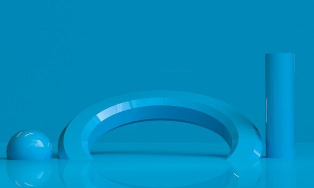 Minimalistischer abstrakter hintergrund der blauen geometrischen form, 3d übertragen. Premium Fotos