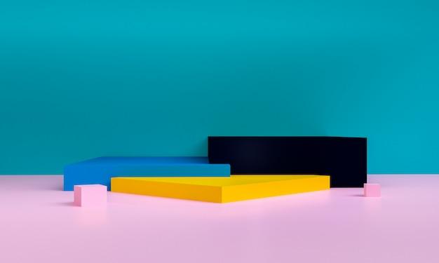 Minimalistt geometrische formszene minimal, wiedergabe 3d. Premium Fotos