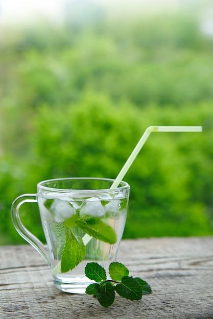 Mit zitrone und minze in einem glas mit strohhalmen trinken Premium Fotos