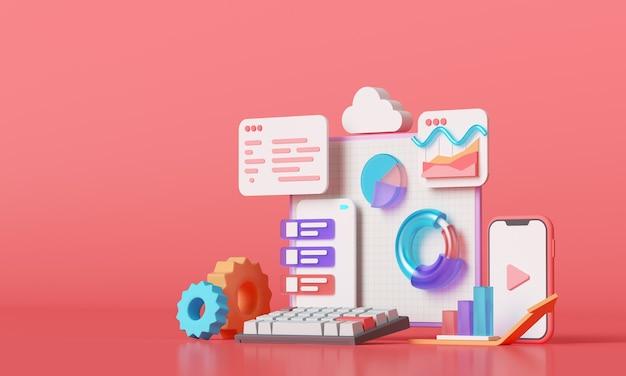 Mobile anwendung, software- und webentwicklung mit 3d-formen, balkendiagramm, infografik. 3d-rendering Premium Fotos