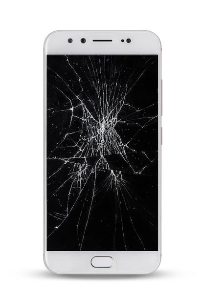 Mobiles modernes touchscreen-smartphone mit kaputtem bildschirm isoliert auf leerraum. dies hat einen beschneidungspfad. Premium Fotos
