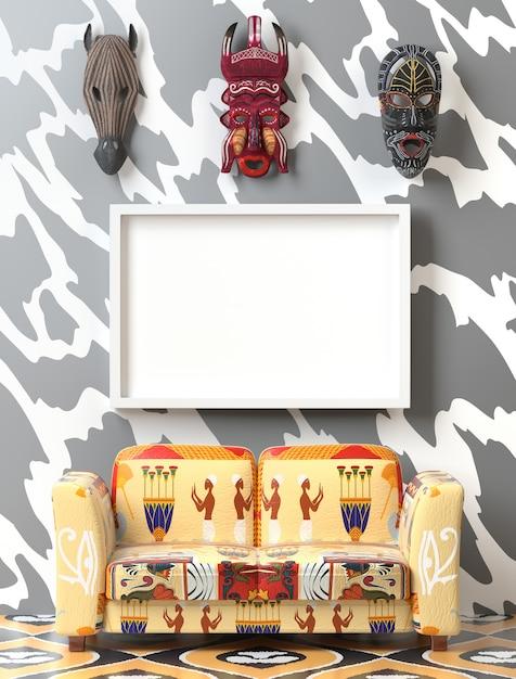 Mock up tribal interieur. weiches sofa mit bunter ethnopolsterung Premium Fotos