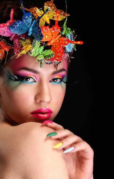Mode brünette model portrait Premium Fotos