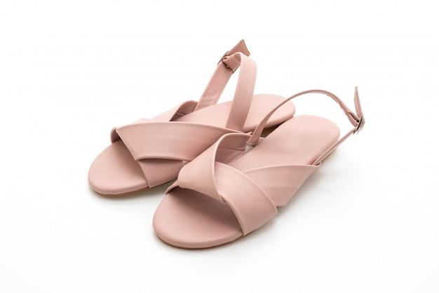 Mode frauen und frauen leder sandalen mit slingback Premium Fotos