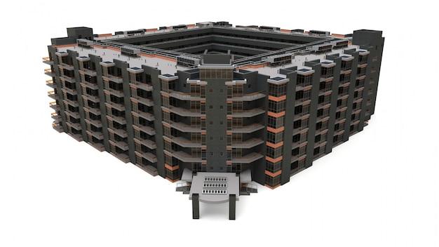 Modell der eigentumswohnung 3d. mehrfamilienhaus mit innenhof Premium Fotos
