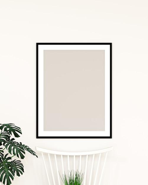 Modell des rahmens an der wand hängen Premium Fotos