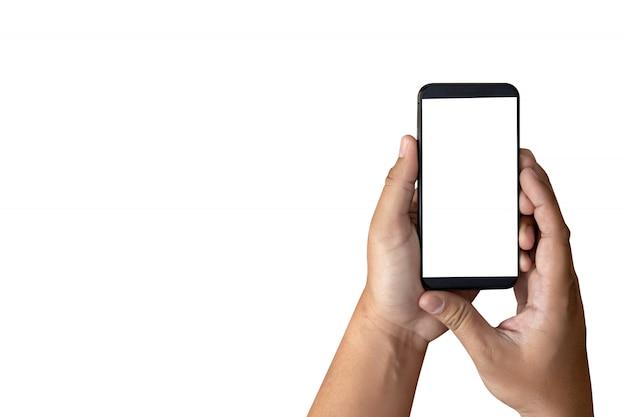 Modellhände, die handy mit leerem bildschirm halten Premium Fotos