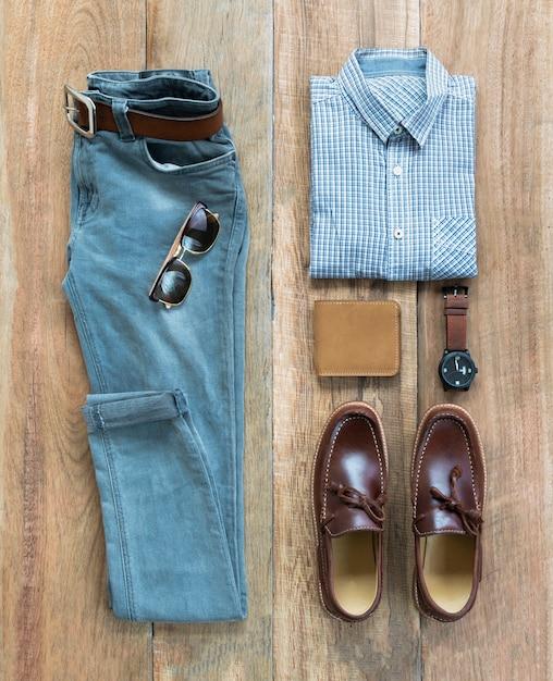 Modemannkleidung und -zubehör eingestellt Premium Fotos