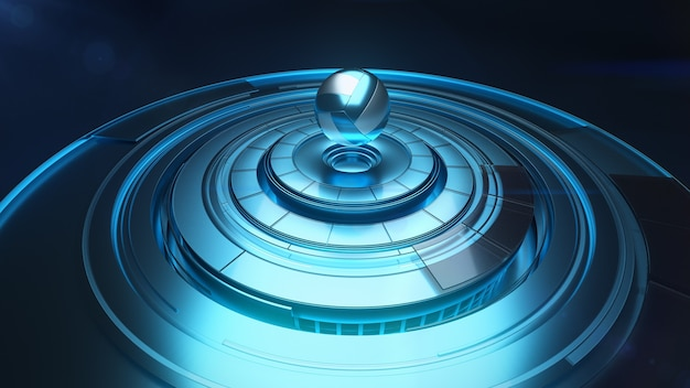 Moderne 3d-projektion des volleyballballs über der rotierenden plattform in der blauen farbe Premium Fotos
