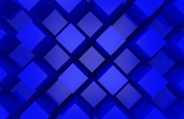 Moderne abstrakte gelegentliche blaue quadratische würfelkastenstangenstapelwanddesign-kunstwand Premium Fotos