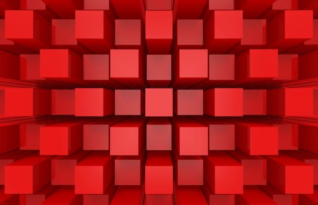 Moderne abstrakte gelegentliche würfelkasten-stangenstapelwand des roten quadrats Premium Fotos