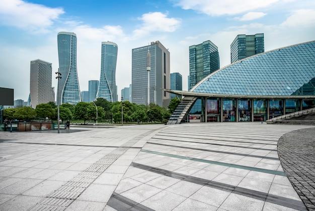 Moderne architekturstadt-skyline Premium Fotos