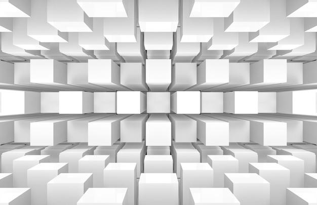 Moderne futuristische weiße quadratische runde würfelkästen stapeln wand und boden Premium Fotos
