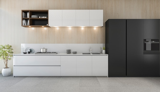 Moderne küchenarbeitsplatte der wiedergabe 3d mit weißem und schwarzem design Premium Fotos