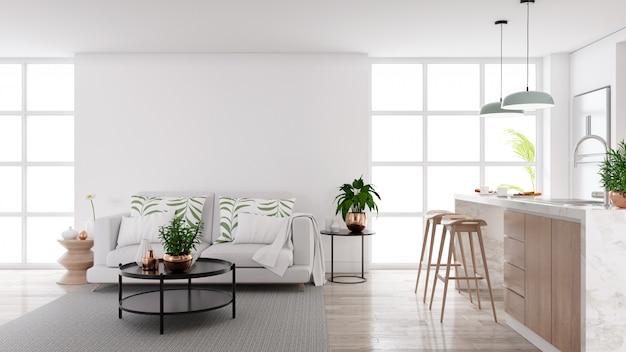 Moderne mitte des jahrhunderts wohnzimmer und küche innenraum Premium Fotos