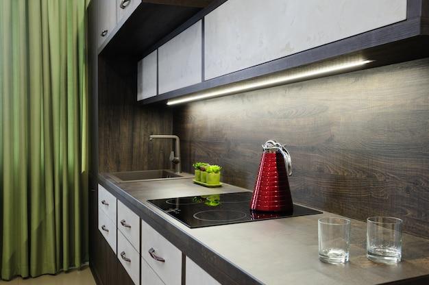 Moderne, moderne bkrown-küche Premium Fotos