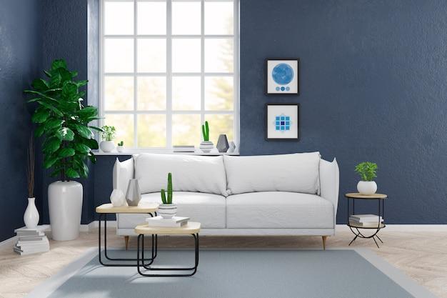 Moderne skandinavische art, wohnzimmerinnenkonzept, weißes sofa mit anlage auf holzfußboden mit blauer schmutzwand, 3d übertragen Premium Fotos