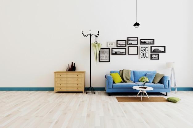 Moderne wohnzimmerkombinationswiedergaben Premium Fotos