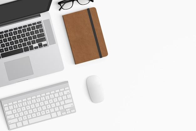 Moderner arbeitsplatz mit kopienraum auf weißem farbhintergrund Premium Fotos