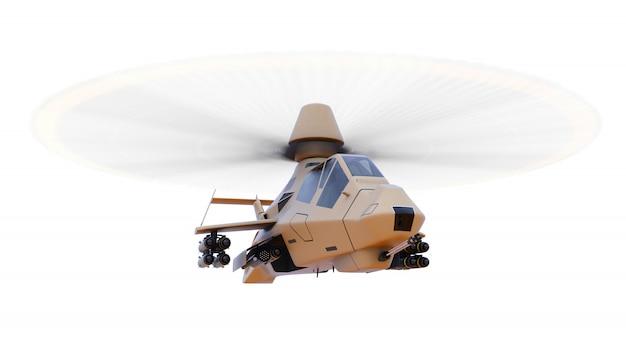 Moderner armeehubschrauber im flug mit einer vollen ergänzung von waffen auf einem weißen hintergrund. abbildung 3d. Premium Fotos
