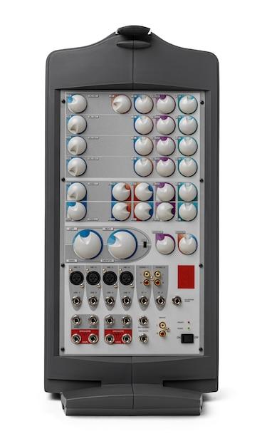 Moderner audiosystemverstärker auf weißem hintergrund Premium Fotos