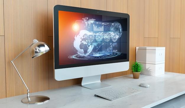 Moderner computer imac mit digitaler wiedergabe der hologrammdarstellung 3d Premium Fotos