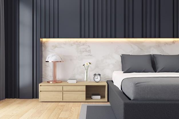 Moderner dunkler schlafzimmerluxusinnenraum Premium Fotos