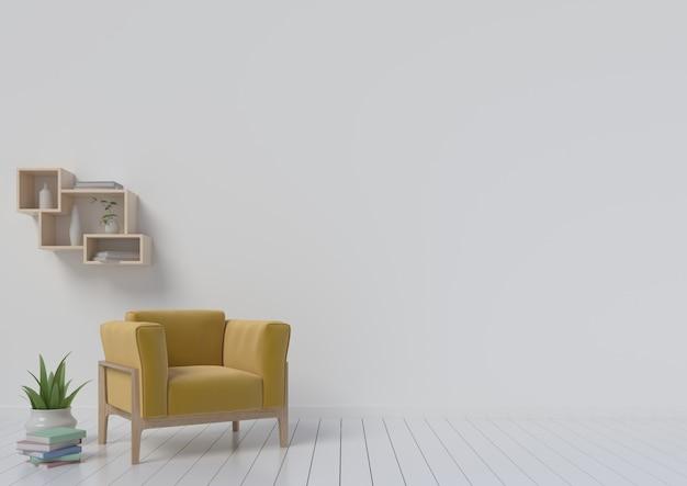 Moderner innenraum mit lehnsesselgelb. 3d-rendering Premium Fotos
