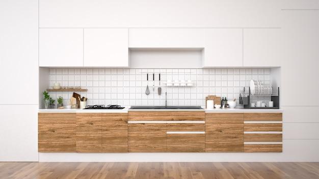 Moderner kücheninnenraum mit möbeln wiedergabe 3d Premium Fotos