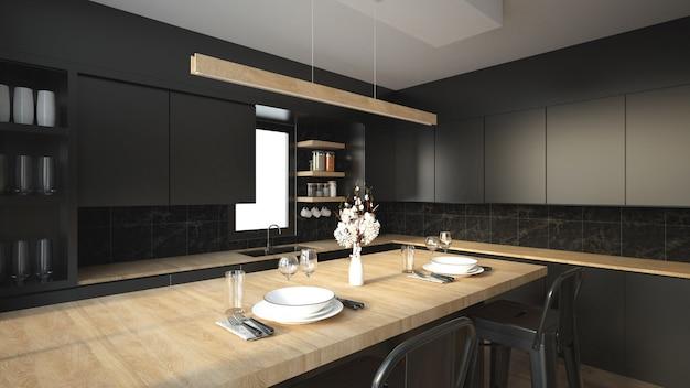 Moderner kücheninnenraum mit möbeln. Premium Fotos