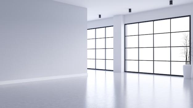 Moderner leerer wohnzimmerinnenraum, weiße wand und konkreter boden mit schwarzem rahmenfenster Premium Fotos
