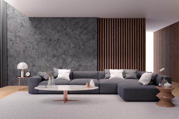Moderner luxuswohnzimmerinnenraum, schwarzes sofa mit dunkler betonmauer Premium Fotos