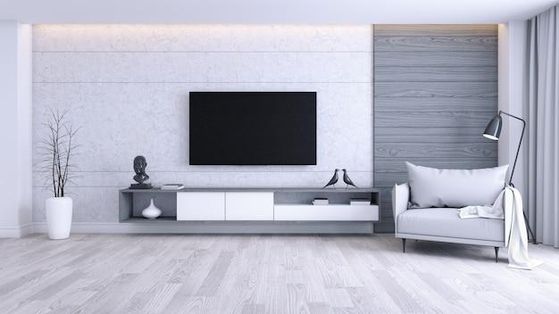 Moderner und unbedeutender innenraum des wohnzimmers, grauer lehnsessel mit weißer fernsehkabine Premium Fotos