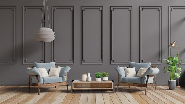 Moderner weinleseinnenraum des wohnzimmers, pastellinnenraum in der klassischen art mit weichem lehnsessel und dunkelbrauner wand. Premium Fotos