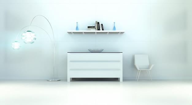 Moderner weißer blauer innenraum mit kommode und wiedergabe des regals 3d Premium Fotos