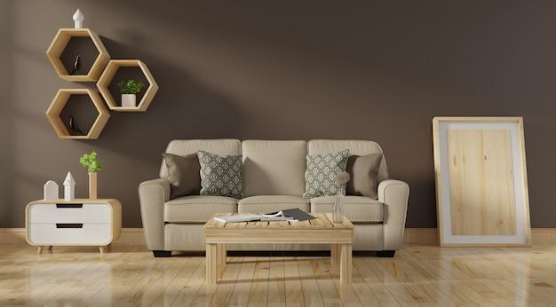 Moderner wohnzimmerinnenraum mit lebendem korallenrotem farbensofa und grünpflanzen Premium Fotos