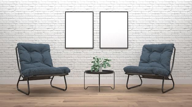 Moderner wohnzimmerinnenraum mit lehnsessel. 3d-rendering Premium Fotos