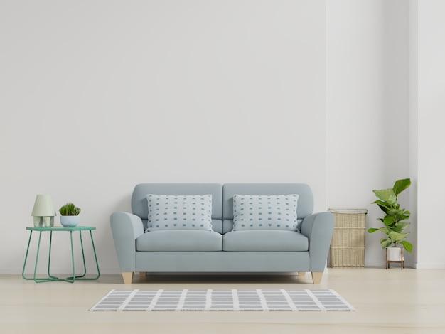 Moderner wohnzimmerinnenraum mit sofa und grünpflanzen, lampe, tabelle auf weißem wandhintergrund. Premium Fotos