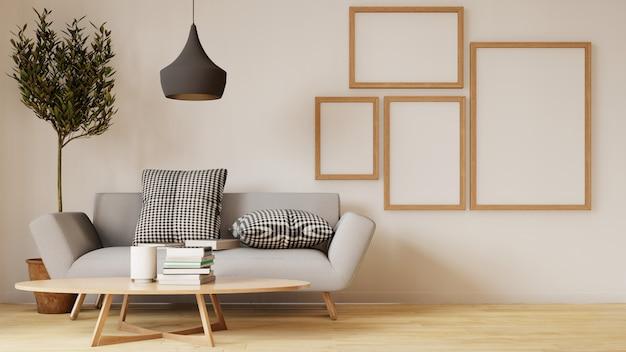 Moderner wohnzimmerinnenraum mit sofa und grünpflanzen, lampe, tabelle auf wohnzimmer Premium Fotos