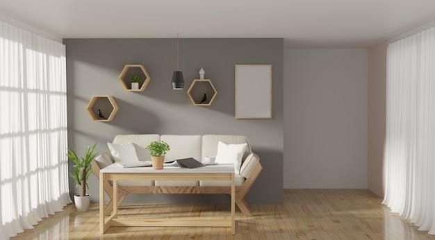 Moderner wohnzimmerinnenraum mit sofa und grünpflanzen Premium Fotos