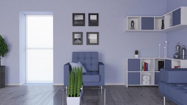 Modernes 3d-wohnzimmer interieur und moderne möbel Kostenlose Fotos