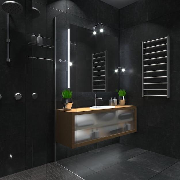 Modernes duschbad aus glas. Premium Fotos