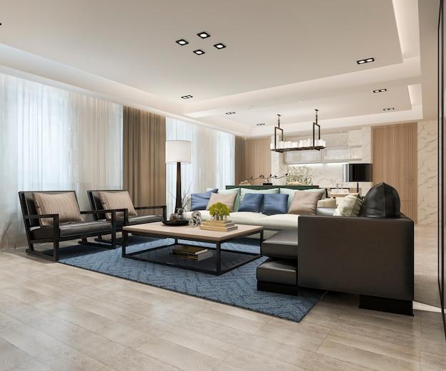 Modernes esszimmer und wohnzimmer der 3d-wiedergabe nahe küche mit luxusdekor Premium Fotos