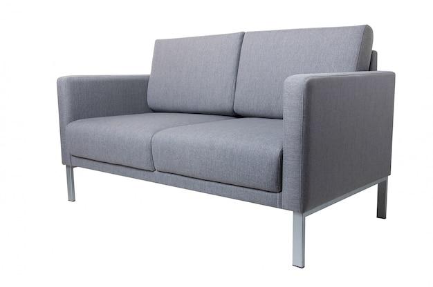 Modernes graues gewebesofa lokalisiert auf weiß. Premium Fotos