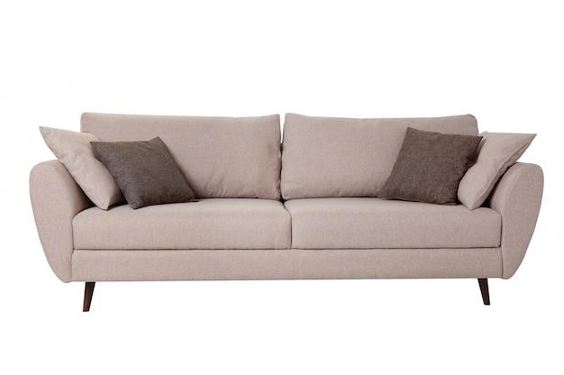 Modernes graues gewebesofa mit den kissen lokalisiert auf weiß. Premium Fotos