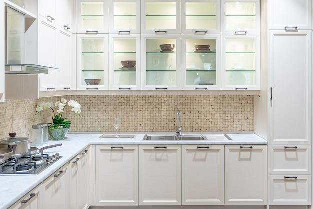 Modernes, helles, sauberes kücheninterieur mit edelstahlgeräten in einer luxuswohnung. Premium Fotos