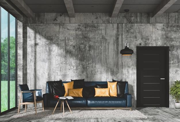 Modernes innenwohnzimmer und grüne landschaft im fenster. 3d-rendering Premium Fotos