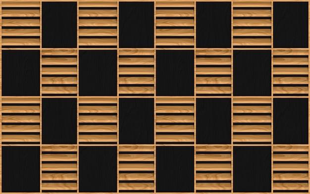 Modernes nahtloses braunes hölzernes quadratisches rahmenmusterdesign auf dunkler wand Premium Fotos